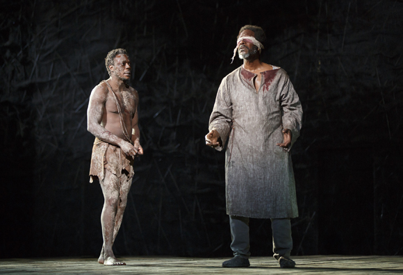 <p>Chukwudi Iwuji and Clarke Peters play Edgar and Gloucester, respectively.</p><br />(© Joan Marcus)