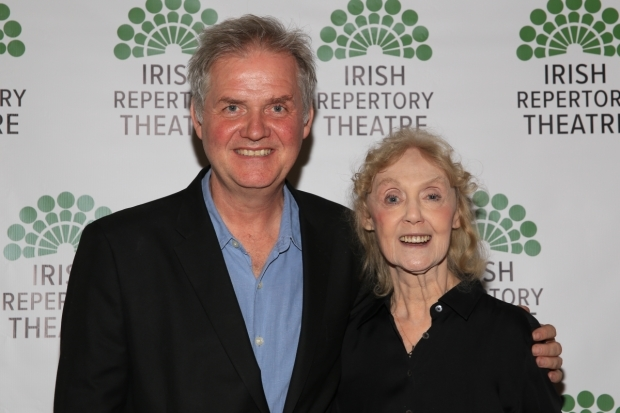 <p>Ciarán O&#39&#x3B;Reilly and Charlotte Moore celebrate another production at Irish Rep.</p><br />(© Tricia Baron)