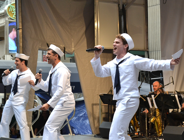 <p>Clyde Alves, Tony Yazbeck, and Jay Armstrong Johnson represent the upcoming Broadway revival of <em>On the Town</em>.</p><br />(© David Gordon)