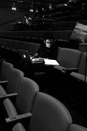 <p>Co-author Joe Iconis takes notes after dress rehearsal.  </p><br />(© TheaterMania)