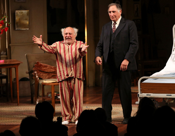 <p>Co-stars Danny DeVito and Judd Hirsch take their opening night bows.</p><br />(© 2013 Ryan Miller/Capture Imaging)