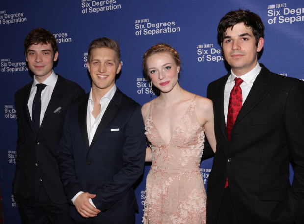 <p>Cody Kostro, Keenan Joliff, Sarah Mezzanotte, and Ned Riseley all make their Broadway debut in <em>Six Degrees of Separation</em>.</p><br />(© David Gordon)