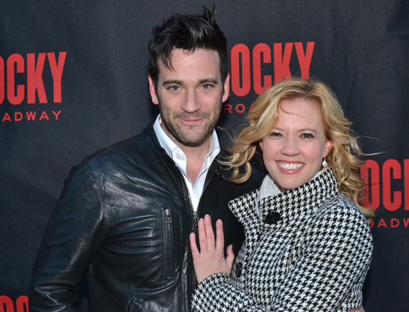 <p>Colin Donnell and Patti Murin were among the Broadway couples to stop for photos on the red carpet.</p><br />(© David Gordon)
