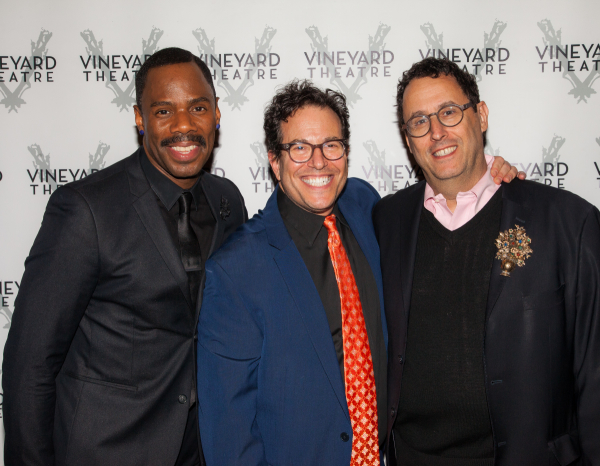 <p>Vineyard veteran Colman Domingo (<em>The Scottsboro Boys, A Boy and His Soul</em>) joins Michael Mayer and Tony Kushner for a photo.</p><br />(© Seth Walters)