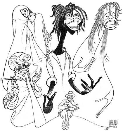 <p>At the entrance <em>The Line King's Library</em> exhibition one can hear Whoopi Goldberg tell of how she met Hirschfeld and how it resulted in this historic drawing of her award-winning solo show. He drew her a number of times in different roles.</p><br />courtesy of the Al Hirschfeld Foundation