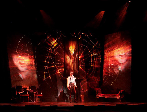 <p>Constantine Maroulis duets with himself in <em>Jekyll &amp&#x3B; Hyde</em>.</p><br />(© brodiegraphics.com)
