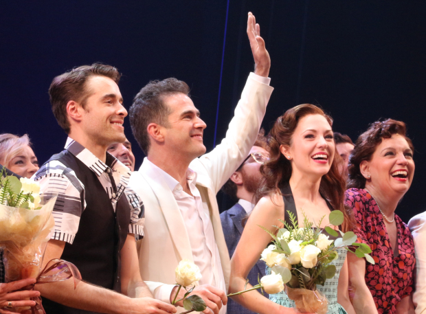 <p>Corey Cott, Andy Blankenbuehler, Laura Osnes, and Beth Leavel during curtain call of <em>Bandstand</em>.</p><br />(© David Gordon)