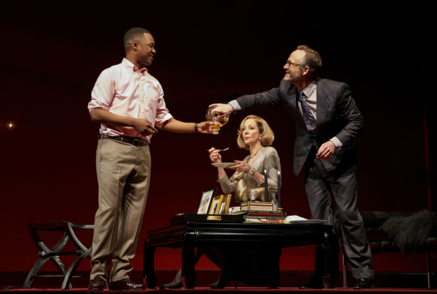 <p>Corey Hawkins in a scene with Allison Janney and John Benjamin Hickey.</p><br />(© Joan Marcus)
