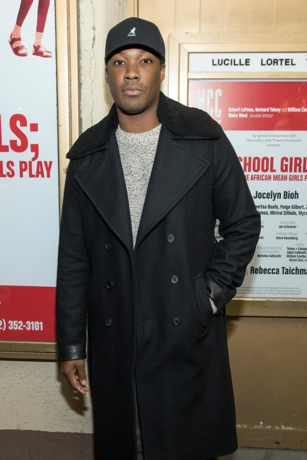 <p>Corey Hawkins stops for a photo before heading into the Lucille Lortel.</p><br />(© Simon Luethi)