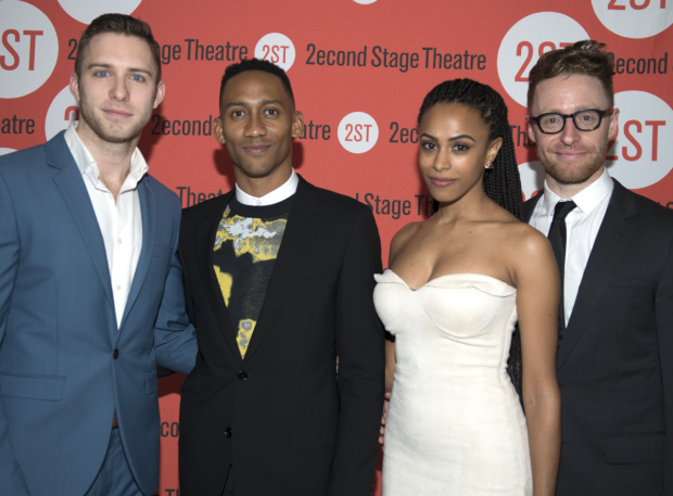 <p>Corey Mach (left) and Nicolette Robinson (second from right) join <em>Invisible Thread</em> creators Griffin Matthews and Matt Gould for a family photo.</p><br />(© Allison Stock)