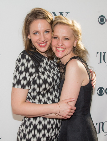<p>Costars Jessie Mueller and Anika Larsen show off their <em>Beautiful</em> smiles.</p><br />(© Seth Walters)