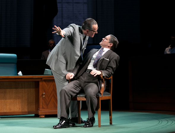 <p>Cranston as LBJ tries to intimidate Hubert Humphrey, played by Robert Petkoff.</p><br />(© Evgenia Eliseeva)