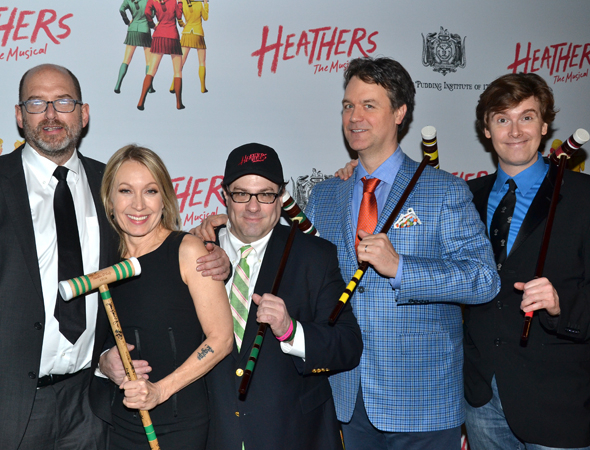 <p>Creative team members Daniel Waters (screenwriter), Marguerite Derricks (choreographer), Andy Fickman (director), Kevin Murphy (book writer, composer, and lyricist), and Laurence O&#39&#x3B;Keefe (book writer, composer, and lyricist) pose with their opening-night croquet mallets.</p><br />(© David Gordon)
