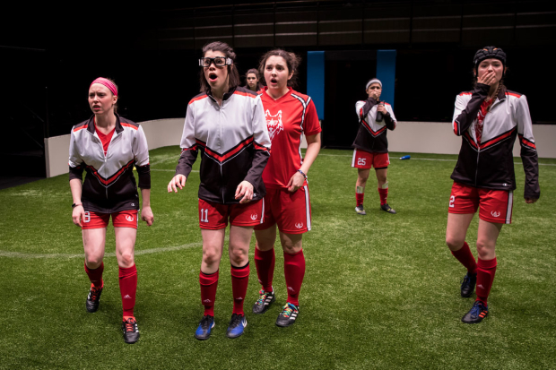 <p>Cydney Moody, Sarah Price, Natalie Joyce, Mary Tilden, Isa Arciniegas, and Taylor Blim in a scene from <em>The Wolves</em>.</p><br />(© Liz Lauren)