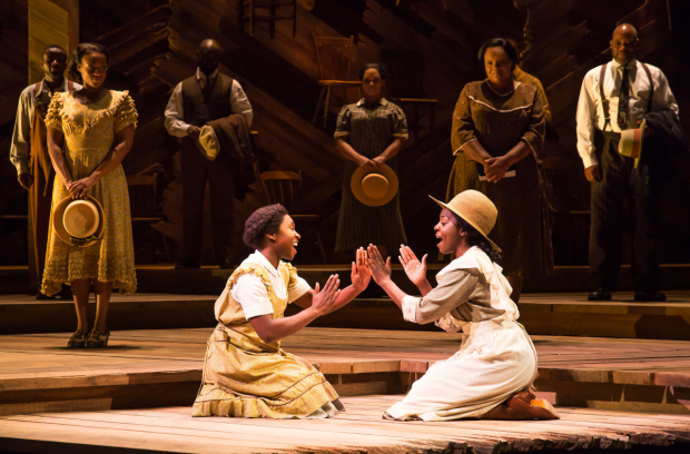 <p>Cynthia Erivo and Joaquina Kalukango play sisters Celie and Nettie.</p><br />(© Matthew Murphy)