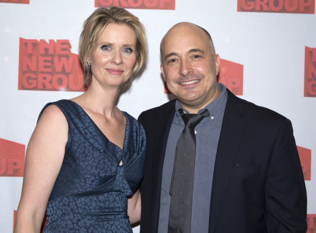 <p>Cynthia Nixon takes a photo with Mark Gerrard, the proud playwright of <em>Steve</em>.</p><br />(© Allison Stock)