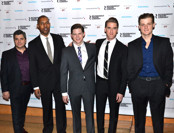 <p>Damian Baldet, Dion Graham, Ryan Dinning, Scott Drummond, Jason Loughlin are included in <em>Machinal</em>&#39&#x3B;s male ensemble.</p><br />(© David Gordon)