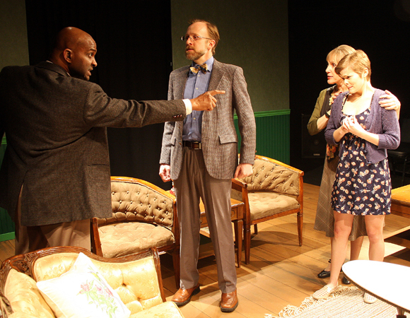 <p>Damon Singletary, Bob Mussett, Shelley Brown, and Lynn Guerra in Zeitgeist Stage Company&#39&#x3B;s production of <em>Neighbourhood Watch</em>. </p><br />(© Richard Hall/Silverline Images)