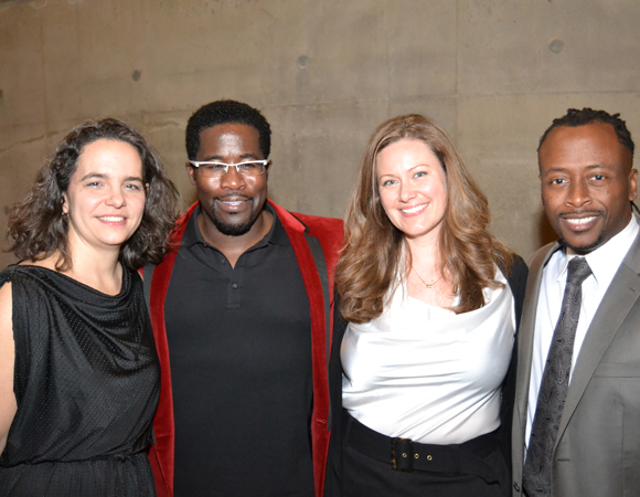 <p>Daniel Beaty (second from left) smiles alongside Tectonic Theater Project Executive Director Erika S. Floreska, Tectonic Theater Project Associate Director Tiffany Redmon, and Music Director Kenny J. Seymour.</p><br />(courtesy of Arena Stage)