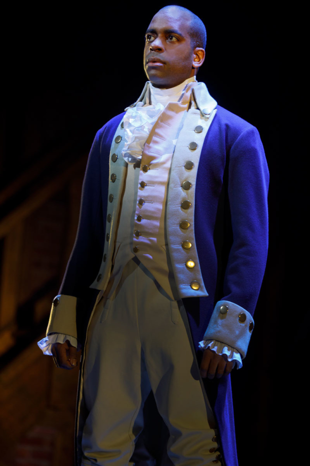 <p>Daniel Breaker stars as Aaron Burr.</p><br />(© Joan Marcus)