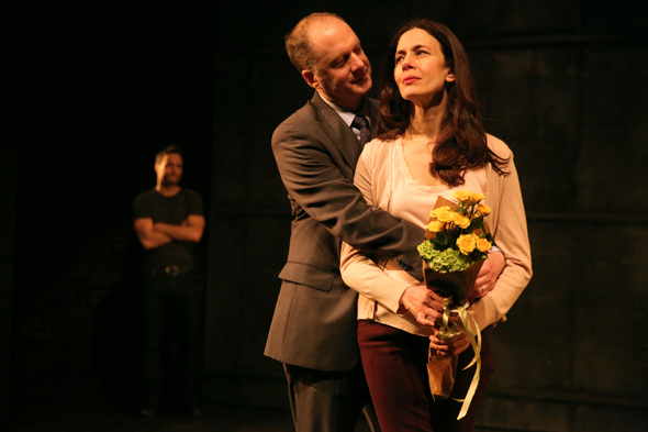 <p>Daniel Jenkins romances Jessica Hecht as Dominic Fumusa looks on.</p><br />(© Joan Marcus)