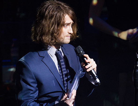 <p>Daniel Radcliffe accepts his acting award for the Broadway-bound <em>Cripple of Inishmaan</em>.</p><br />(© Peter Gibbons)