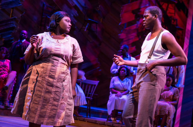 <p>Danielle Brooks and Kyle Scatliffe take on the roles of onstage couple Sofia and Harpo.</p><br />(© Matthew Murphy)
