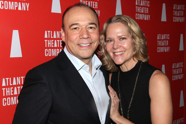 <p>Danny Burstein and Rebecca Luker walk the red carpet.</p><br />(© David Gordon)