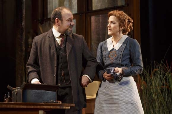 <p>Danny Burstein and Victoria Clark in a scene from <em>The Snow Geese</em>.</p><br />(© Joan Marcus)