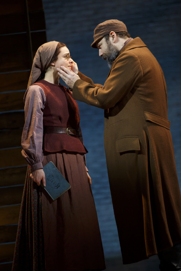 <p>Danny Burstein shares a tender moment with onstage daughter Melanie Moore.</p><br />(© Joan Marcus)