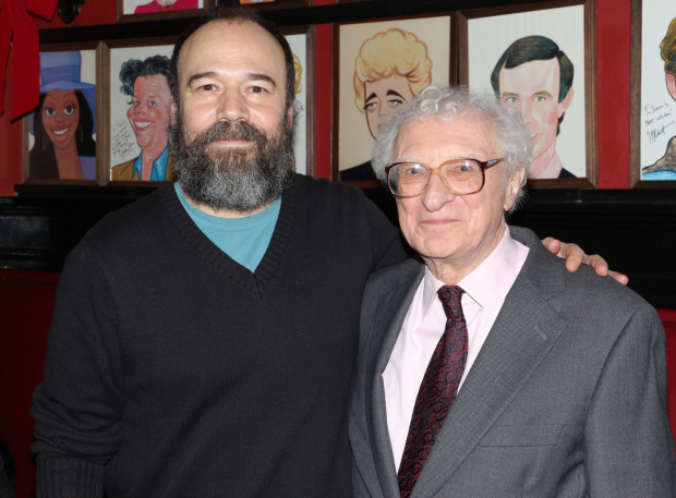 <p>Danny Burstein, who plays Tevye in Broadway&#39&#x3B;s current <em>Fiddler on the Roof</em> revival, takes a celebratory photo with the show&#39&#x3B;s lyricist, Sheldon Harnick.</p><br />(© David Gordon)