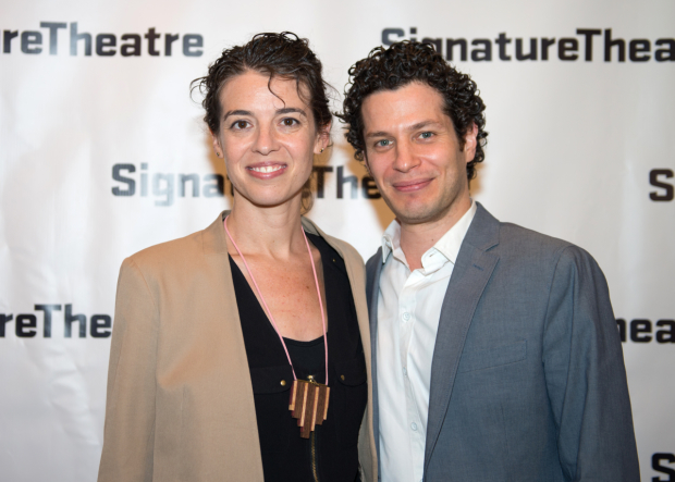 <p><em>Daphne&#39&#x3B;s Dive</em> playwright Quiara Alegría Hudes celebrates with her director, Thomas Kail.</p><br />(© Allison Stock)
