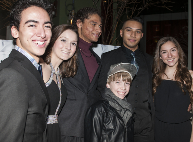 <p>Dario Natarelli, the Ruth Sisters, the Manzari Brothers, and Luke Spring toast their opening night in <em>Tappin&#39&#x3B; Thru Life</em>.</p><br />(© Allison Stock)