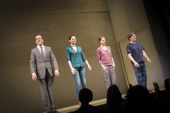 <p>Darren Pettie, Heather Burns, Marin Hinkle, and Jeremy Shamos take to the stage for the opening-night curtain call of <em>Dinner With Friends</em>.</p><br />(© Nessie Nankivell)