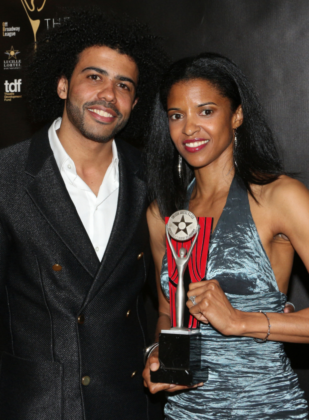 <p>Daveed Diggs and Renée Elise Goldsberry took home Lortel Awards for Outstanding Featured Actor and Actress in a Play for <em>Hamilton</em>. </p><br />(© David Gordon)