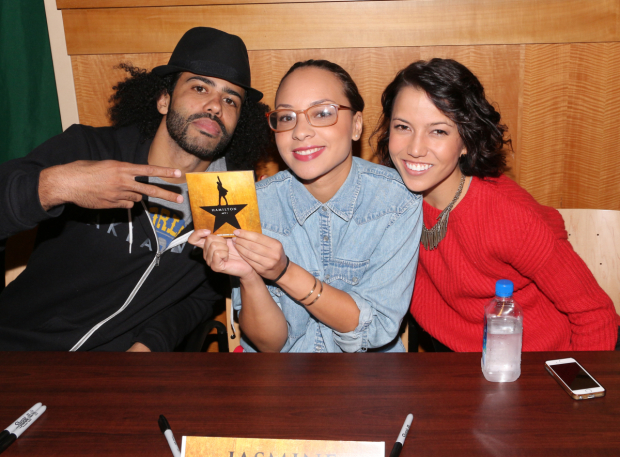 <p>Daveed Diggs, Jasmine Cephas Jones, and Morgan Marcell can&#39&#x3B;t wait to give <em>Hamilton</em> a listen.</p><br />(© David Gordon)