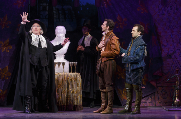 <p>David Beach, Josh Grisetti, and Rob McClure share the stage.</p><br />(© Joan Marcus)