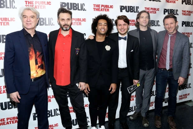 <p>David Byrne poses with members of the band: Yuval Lion, Bobby Wooten III, Oskar Stenmark, John Kengla, and Kris Kukul.</p><br />(© Tricia Baron)