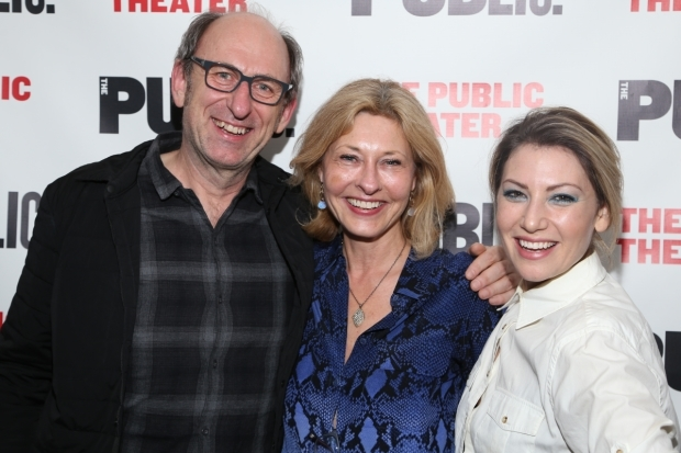 <p>David Cale, Laurie Eustis, and Ari Graynor smile for the cameras.</p><br />(© Tricia Baron)