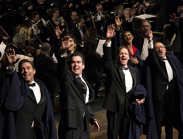 <p>David Elder, Brian d&#39&#x3B;Arcy James, Martin Moran, and Allan Corduner perform the musical&#39&#x3B;s finale.</p><br />(© David Gordon)