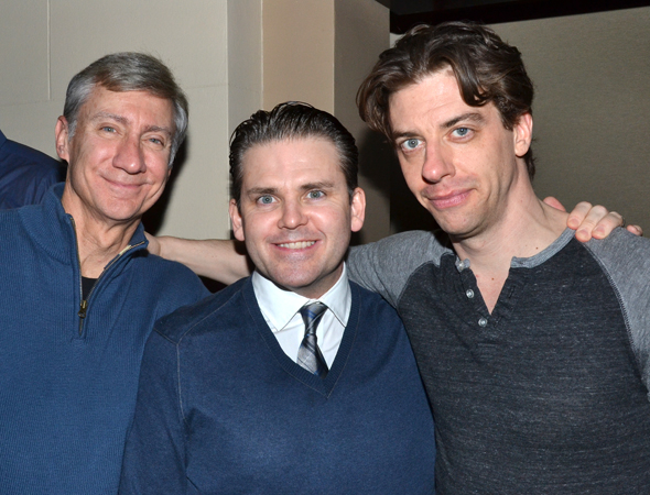<p>David Garrison, who played Patrick Dennis, joins multi-character actors extraordinaire Robert Creighton and Christian Borle for a photo at the after-party. </p><br />(© David Gordon)