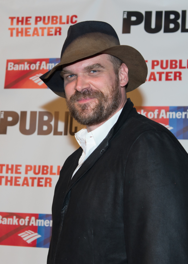 <p>David Harbour suffered an injury during previews of <em>Troilus and Cressida</em> and was replaced in the role of Achilles by Louis Cancelmi.</p><br />(© Allison Stock)