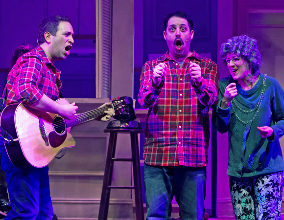 <p>David Rossmer, Steve Rosen, and Kate Wetherhead share the stage.</p><br />(© Jerry Dalia)