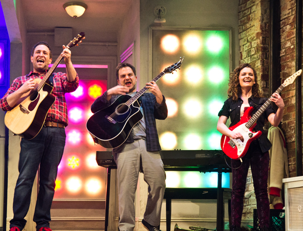 <p>David Rossmer, Vadim Feichtner, and Cathryn Salamone show off their impressive guitar skills.</p><br />(© David Gordon)