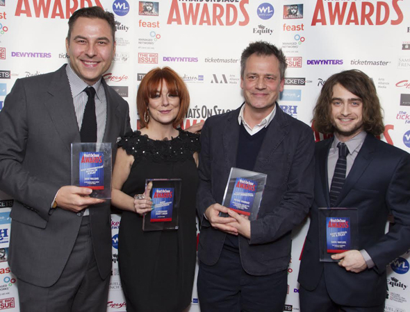 <p>David Walliams and Sheridan Smith (<em>A Midsummer Night&#39&#x3B;s Dream</em>), Michael Grandage and Daniel Radcliffe (<em>The Cripple of Inishmaan</em>) pose for photos in the winner&#39&#x3B;s circle. </p><br />(© Dan Wooller)