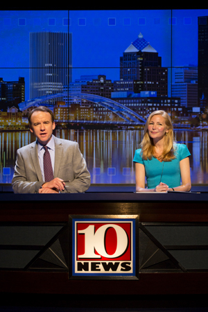 <p>David Wilson Barnes and Jennifer Westfeldt co-star in <em>The Power of Duff</em> as news anchors Charlie Duff and Sue Raspell. </p><br />(© T Charles Erickson)