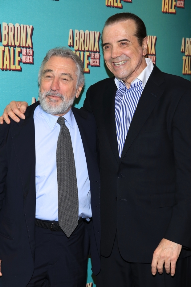<p>De Niro and Palminteri costarred as Lorenzo and Sonny in the 1993 film adaptation of <em>A Bronx Tale</em>.</p><br />(© Tricia Baron)
