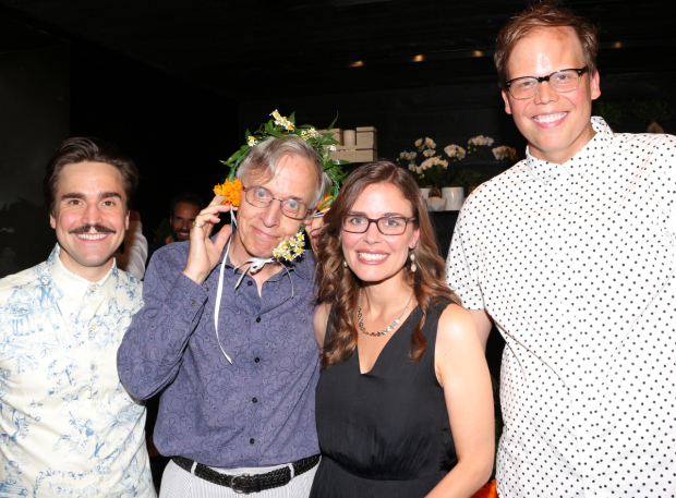 <p>DeBessonet poses with her Rude Mechanicals: Joe Tapper (Robin Starveling), Robert Joy (Peter Quince), and Jeff Hiller (Francis Flute).</p><br />(© David Gordon)