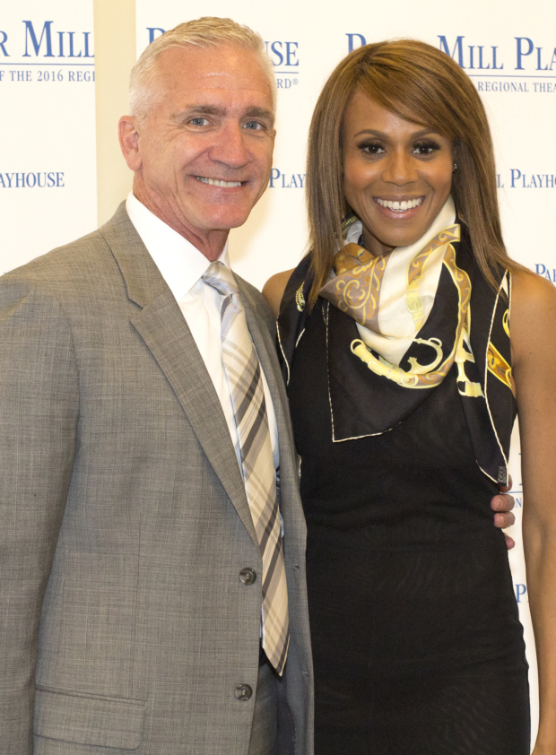 <p>Deborah Cox poses with Paper Mill Playhouse artistic director Mark S. Hoebee.</p><br />(© Seth Walters)