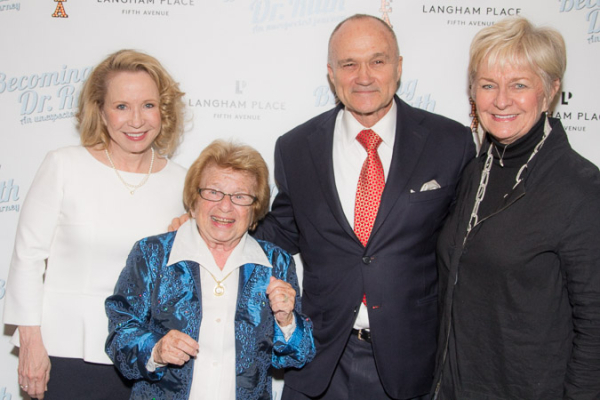 <p>Debra Jo Rupp and Dr. Ruth pose with NYPD commissioner Ray Kelly and his wife.</p><br />(© Seth Walters)